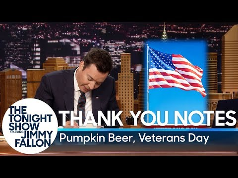 Thank You Notes: Pumpkin Beer, Veterans Day